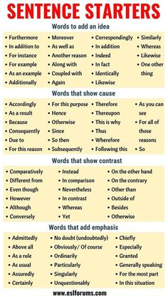 Sentence Starters: Useful Words and Phrases You Can Use As Sentence Starters - E. Sentence Starters: Useful Words and Phrases You Can Use As Sentence Starters - ESL Forums - - Quotes Essay Writing Skills, Book Writing Tips, Writing Words, Teaching Writing, Academic Writing, Dissertation Writing, Essay Writer, Teaching Grammar, Essay Words