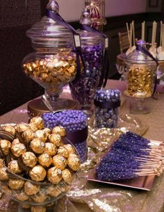 Sweet 15 Purple & Gold Candy Bar for a Quinceanera Dessert Party, Sweet 16 Birthday, 50th Birthday Party, Birthday Table, Aladdin Birthday Party, Birthday Ideas, Aladdin Party, Purple Birthday Parties, Birthday Candy Bar