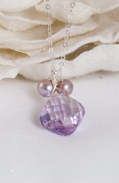 Purple Haze – Amethyst and Pearls Pendant Necklace