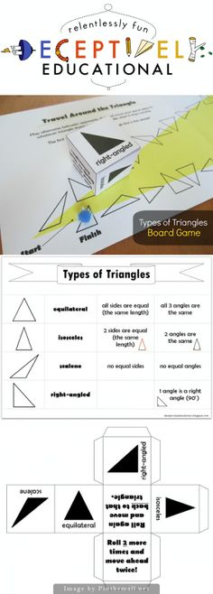 Relentlessly Fun, Deceptively Educational: Types of Triangles Board Game - a board game to help students learn the four types of triangles: ~Scalene ~Right-angled ~Equilateral ~Isosceles | Includes a sheet explaining the differences between the four types of triangles |