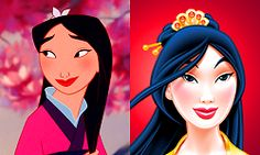 """Mulan, classic and revamped (really not a fan of any of these """"revamps """" classic is always best. don't mess my girls)"""