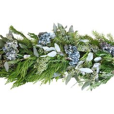 6' Hydrangea Garland Dried Mantelpieces Garlands & Swag (£64) ❤ liked on Polyvore featuring home, home decor, decorative accessories, blue home decor, floral home decor and green home decor
