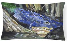 Blue Alligator Canvas Fabric Decorative Pillow JMK1135PW1216