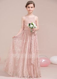 [US$ 70.49] A-Line/Princess Scoop Neck Floor-Length Lace Junior Bridesmaid Dress With Bow(s) (009106856)
