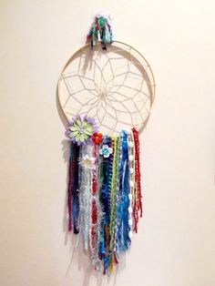 Items similar to colorful hand woven multi-colored dreamcatcher with big flowers and stones on Etsy Custom Made Clothing, Big Flowers, Dreamcatchers, Hand Weaving, Stone, Unique Jewelry, Handmade Gifts, Etsy, Color