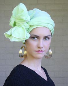Cotton Gauze Turban Chemo Head Wrap Alopecia Scarf Green. $44.95, via Etsy.