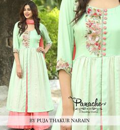The Peach Expression Sea green and peach creates a refreshing semi formal silk dress. Hand embellishments with sequins befits this elegant design Kurti Neck Designs, Dress Neck Designs, Blouse Designs, Stylish Dresses, Casual Dresses, Fashion Dresses, Formal Outfits, Silk Formal Dress, Silk Dress