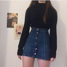 jupe, denim, mini jupe, instagram, mignon, bleu, jupe en jean boutonnée, jupe en jean, pour toujours 21, urb ...