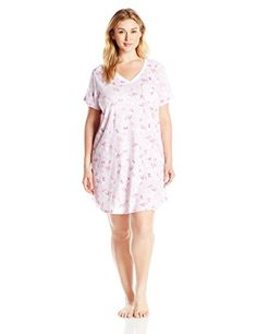 Karen Neuburger Womens Plus Size Pullover Nightshirt FloralPink 3X -- More info could be found at the image url.