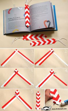 red and white bookmarks