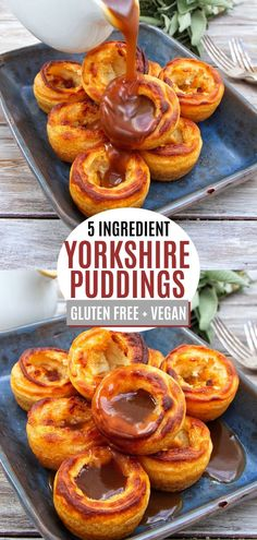 Easy to make 5 ingredient gluten free & vegan Yorkshire puddings that are actually crispy and delicious. Perfect side for Christmas or Sunday Roast to share Vegan Roast Dinner, Vegan Dinner Recipes, Vegan Snacks, Cooking Recipes, Yummy Vegan Food, Cooking Tips, Sin Gluten, Vegan Gluten Free, Gluten Free Vegetarian Recipes