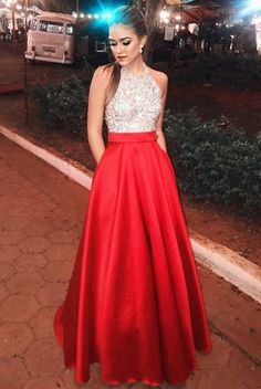 Pretty Open Back Long Beading Satin Red Halter Prom Dresses Pretty Prom Dresses Open Back Prom Dresses Prom Dresses Red Prom Dress Prom Dresses 2019 Fancy Prom Dresses, Prom Dresses With Pockets, Open Back Prom Dresses, Beaded Prom Dress, Grad Dresses, Dance Dresses, Homecoming Dresses, Formal Dresses, Party Dresses