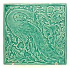 Peacock 6x6 tile in Turquoise Glaze
