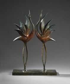 Bronze Stylised Birds Sculptures / Statues / statuary / ornaments figurines / statuettes sculpture by artist Simon Gudgeon titled: 'Dancing Cranes'
