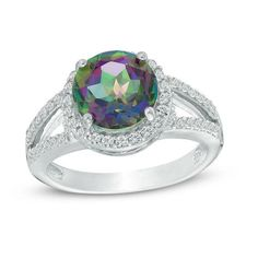 Zales 9.0mm Mystic Fire Topaz and Lab-Created White Sapphire Frame Split Shank Ring in Sterling Silver pzJrgst