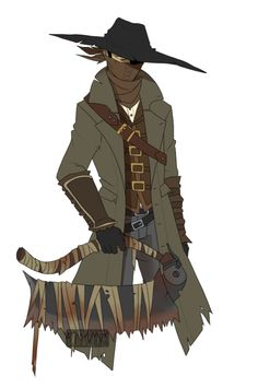 finally drew my hunter i went through both playthroughs of the game using the sawcleaver, and swap between outfits a lot. Bloodborne Outfits, Bloodborne Art, Fantasy Character Design, Character Concept, Character Art, Dark Blood, Old Blood, Manga Characters, Fantasy Characters