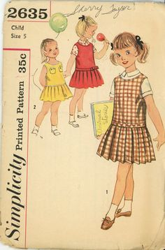 Simplicity 2635 Vintage Sewing Pattern - Childs school dress, jumper dress & blouse. The blouse features back button closing, turn back cuff