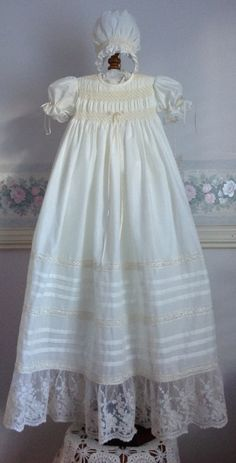Graceful - A Beautiful Ivory Voile Christening Gown - Size 3 months