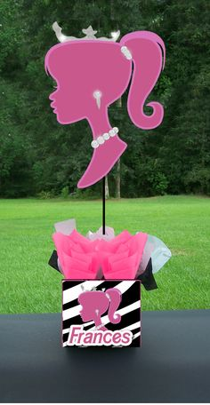 Barbie inspired All Dolled Up Birthday Party SILHOUETTE Centerpiece, via Etsy.