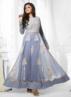 Sky Blue Faux Georgette Embroidery Designer Salwar Suit