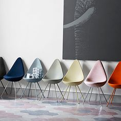drop chairs 3110 all colours by arne jacobsen  vegan, plastic and could not be more gorgeous!