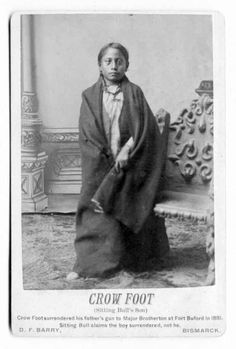 Sitting Bull's son, Crow Foot (c.1876-1890), shown at a young age. Several years after this photo was taken by D. F. Barry (no date), Crow Foot and his famous father were murdered at their log cabin at Standing Rock during a night time botched arrest attempt by the Lakota Police. (B&W version)
