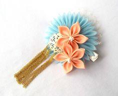 Kanzashi Flower Hair Clip with Birdcage by ScarlettandMaria