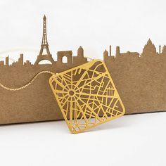 Paris Map Necklace Gold or Silver Minimalist City by TaliaSari