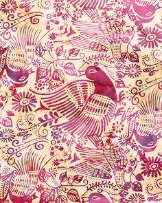 Mexican Folk Bird Batik - Quilt Fabrics from www.eQuilter.com