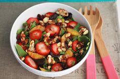 Strawberry orange salad with strawberry balsamic poppyseed dressing!