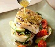 Chef Chris Hastings' Grouper with Tomato, Avocado and Grilled Vidalia Onions with Basil Lime Vinaigrette is a great way to show off your grouper catch.