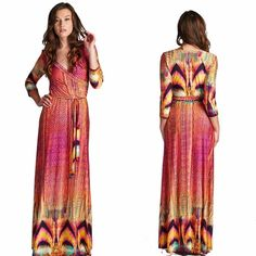 Tropical Print Maxi Dress S M L This stunning tropical print full length maxi dress features a mock wrap, v-neckline, belt tie and 3/4 sleeves. Dress barely wrinkles so it makes it a great dress for travel or work. Sizes: Small, Medium, Large available,   Comment below with your size and I will create a separate listing for you to purchase. Dresses Maxi