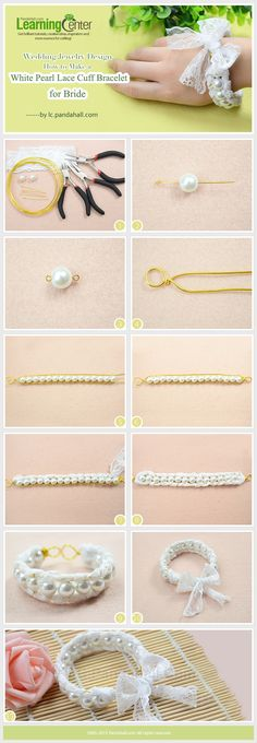 Wedding Jewelry Design-How to Make a White Pearl Lace Cuff Bracelet for Bride