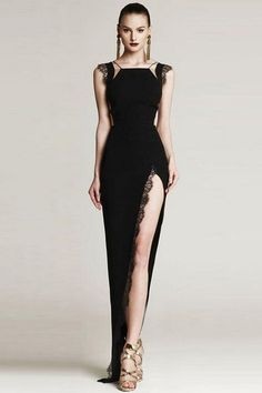 d3e44ca228 Lace Mesh Patchwork High Slit Bandage Dress Black White – iulover