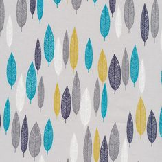 134203 Leaf Line-Up | Turquoise Quilter's Cotton from First Light by Eloise Renouf for Cloud9 Fabrics