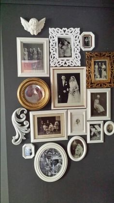 Family photo gallery wall in hallway