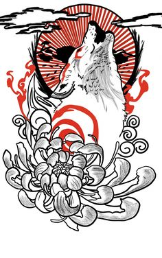 Japanese Tattoo Words, Japanese Tattoo Meanings, Japanese Tattoos For Men, Traditional Japanese Tattoos, Japanese Tattoo Designs, Japanese Sleeve Tattoos, Wolf Tattoos, Men Tattoos, Phoenix Tattoos