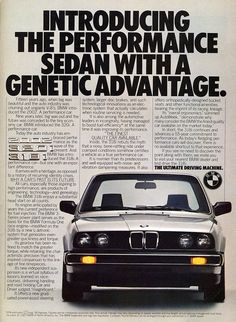 """BMW 3-Series -  Mid 80's campaign that did a lot of """"introducing"""" to the US market."""