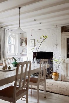 Love the fireplace, branches as decoration, rafters. http://www.digsdigs.com/charming-shabby-chic-white-house-in-london/