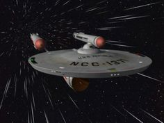 The starship USS Enterprise from the TV series Star Trek. Star Trek Tv Series, Star Trek Cast, Vaisseau Star Trek, Scotty Star Trek, Star Trek Episodes, Starfleet Ships, United Federation Of Planets, Fiction, Star Trek Images
