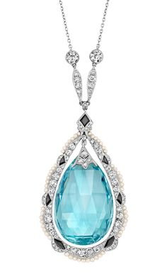 Platinum, Aquamarine Briolette, Diamond, Black Onyx and Seed Pearl Lavaliere   The drop-shaped pendant centering a flexibly-set drop-shaped aquamarine briolette approximately 29.0 x 18.0 x 9.6 mm., topped by a diamond-set cap, within a scalloped diamond-set frame accented by black onyx, edged by seed pearls, joined by two navette-shaped diamond-set panels and 2 old European-cut diamonds, completed by a delicate chain spaced by 7 pearls, circa 1915, one pearl missing. Length 19 7/8 inches.