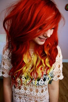 Red and yellow hair. I love th yellow highlights here.