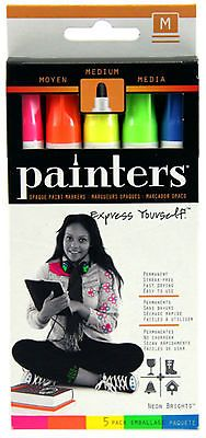 Elmer's Painters W7571 Neon Brights Opaque Paint Markers Medium Tip 5 Pk NIB