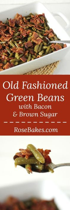 Old Fashioned Green Beans with Bacon, Soy Sauce & Brown Sugar for a Crowd! This delicious green bean casserole has a sweet soy sauce & crispy salty bacon! Recipes With Soy Sauce, Bacon Recipes, Side Dish Recipes, Vegetable Recipes, New Recipes, Cooking Recipes, Cooking Vegetables, Dinner Recipes, Dining