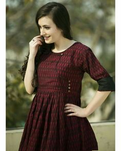 Wine gathered tunic by Desi Doree Kurta Designs Women, Salwar Designs, Kurti Designs Party Wear, Frock Fashion, Fashion Outfits, Fasion, Jackie Kennedy, Feeding Dresses, Ikkat Dresses