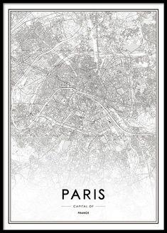 Schwarz-Weiß-Poster mit eleganter und detaillierter Karte von Paris. Das Motiv kommt im leichten Vintage-Look daher, es passt aber neben einem klassischen auch in einen modernen Einrichtungsstil. www.desenio.de