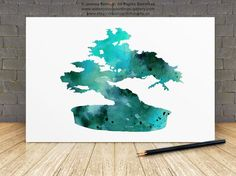 Bonsai Tree Art Print Custom Watercolor Silhouette by Silhouetown  #bonsai #tree #silhouette #watercolor #painting