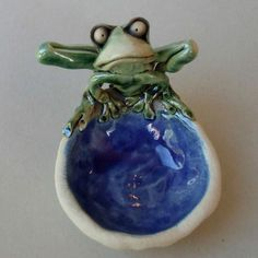 Ceramic Frog Dish Sculpture