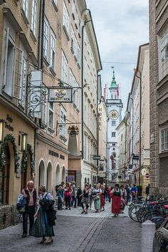 Streets of Salzburg, Austria.  Located 155 miles west of Vienna, Salzburg is Austria's premier tourist city.  http://www.atlastravelweb.com/Destinations/Austria-Tours.html