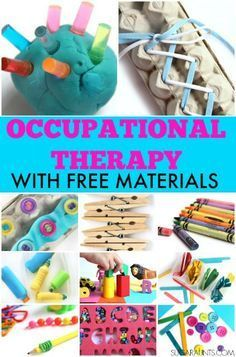 Days of Occupational Therapy with Free Materials Tons of different ways to work on Occupational Therapy treatment goals using free materials.Tons of different ways to work on Occupational Therapy treatment goals using free materials. Occupational Therapy Assistant, Occupational Therapy Activities, Motor Skills Activities, Physical Activities, Autism Activities, Gross Motor Skills, Occupational Therapy For Children, Cerebral Palsy Activities, Fine Motor Activities For Kids